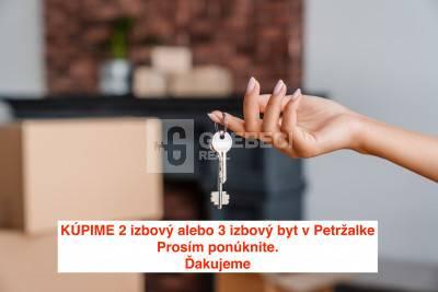 Kúpime 2 izbový alebo 3 izbový byt v Petržalke, Bratislava
